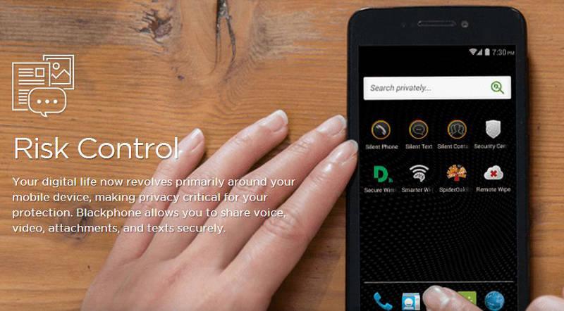 Captura de pantalla del sitio de Blackphone. La pantalla muestra navegación en modo incógnito.