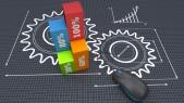 Engranajes y gráficos ilustran ingenio, creatividad e innovación