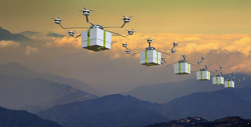 Seis drones surcan el espacio llevando sendos paquetes
