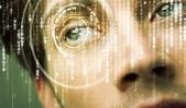 Ilustración de autenticación biométrica con acercamiento a los ojos.