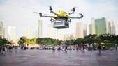 Imagen 3D futurista de dron vehículo aéreo no tripulado para entrega en ciudades