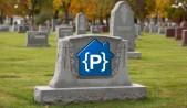 Lápida sobre tumba en cementerio con logotipo de Google Code