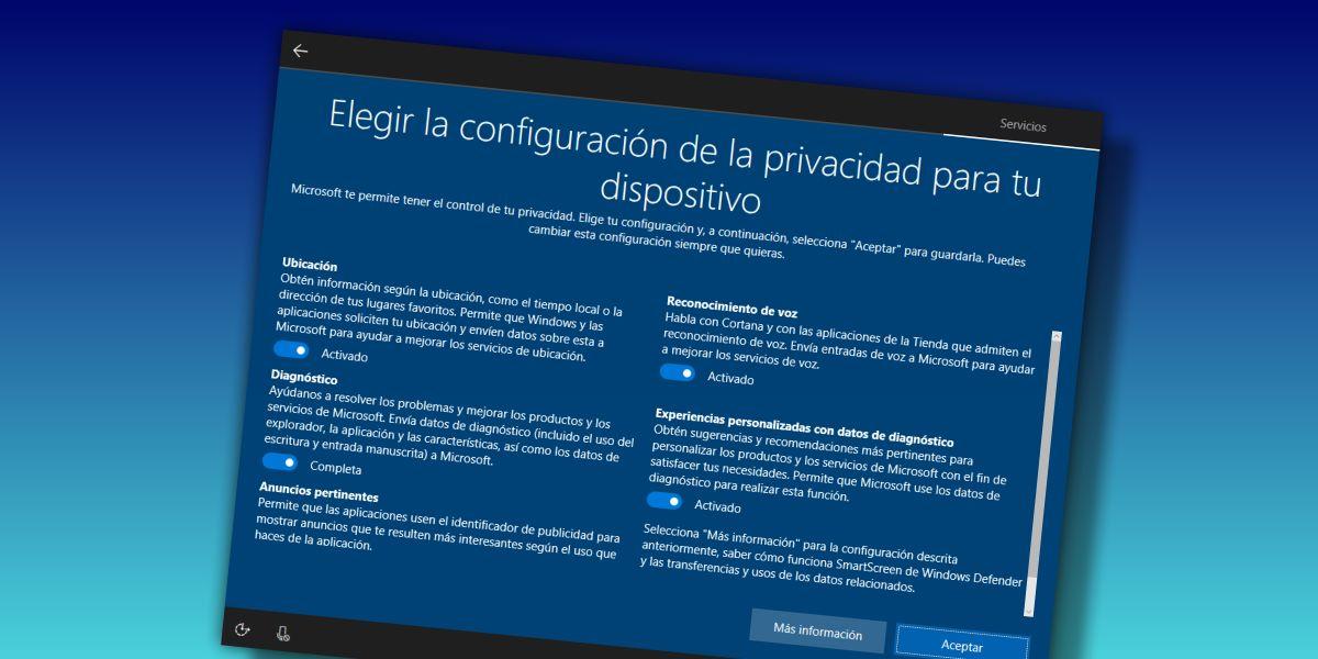 windows 10 configuracion privacidad